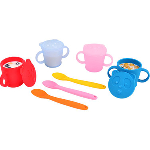 Learning-type Baby Silicone Cartoon Beverage Cup with Food-grade Silicone Lid for Children